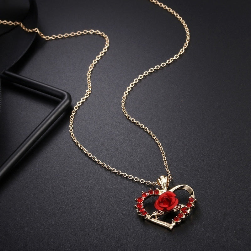 3pcs/set Gold-plated Heart-shaped Ruby Rose Pendant Necklace Love Necklace Earrings Romantic Luxury Anniversary Gift