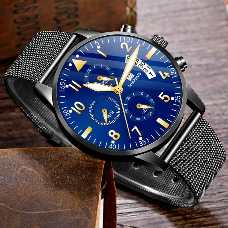 SHAARMS Classic Gold Blue Men's Fashion Wristwatch Herren Uhren Luxury Alloy Mesh Belt Ultra Thin Watches Montre Homme Casual Business Analog Calendar Quartz Watch Gifts For Men Reloj Hombre