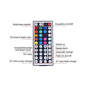 Tape Lights Dimmable LED Lights Kit DC 12V RGB LED TV Backlight Strip with 44 Key Remote Controller and Power Adapter for Home, Kitchen,Decoration