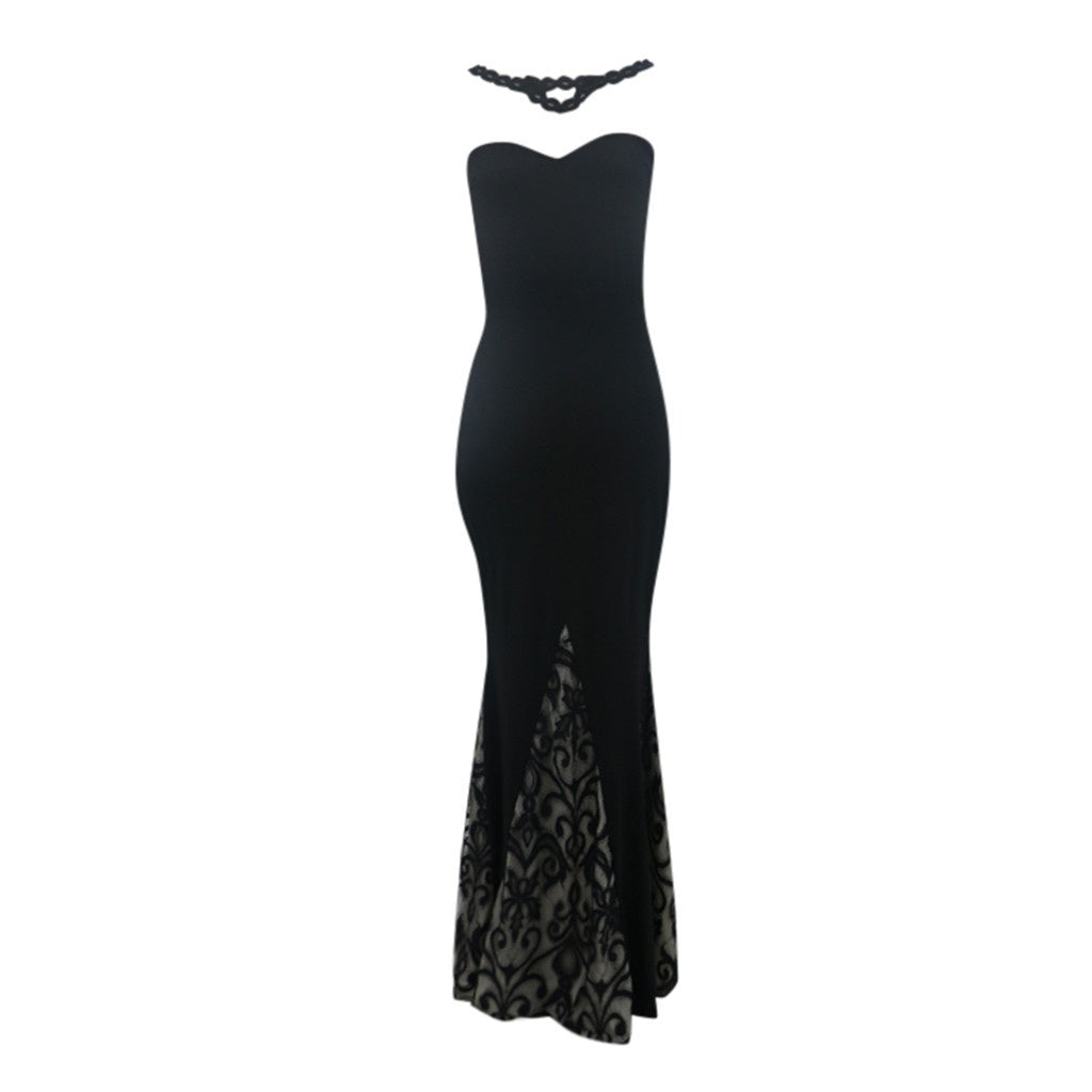 Women Lace Sleeveless Slim Dress Print Hollow Maxi Dress Party Dresses