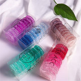 9PCS / Box Gradient Color Elastic Spiral Coil Hair Ring Ponytail Fashion Hair Accessories 7 Colors