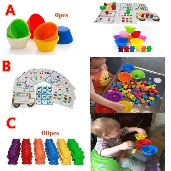 Rainbow Counting Bears with Matching Sorting Cups Toy Storage and Learning Card  for Toddlers Baby