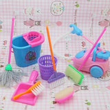 Dolls Pretend Play Toy Cleaning Kit for Barbie Dolls(1 Set=9 pcs) COLOR RANDOM
