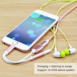 2 in 1 for Apple Lightning Audio Converter 3.5mm Audio headphone jack adapter Play Music for iPhone 7 plus for iPhone 8 plus X