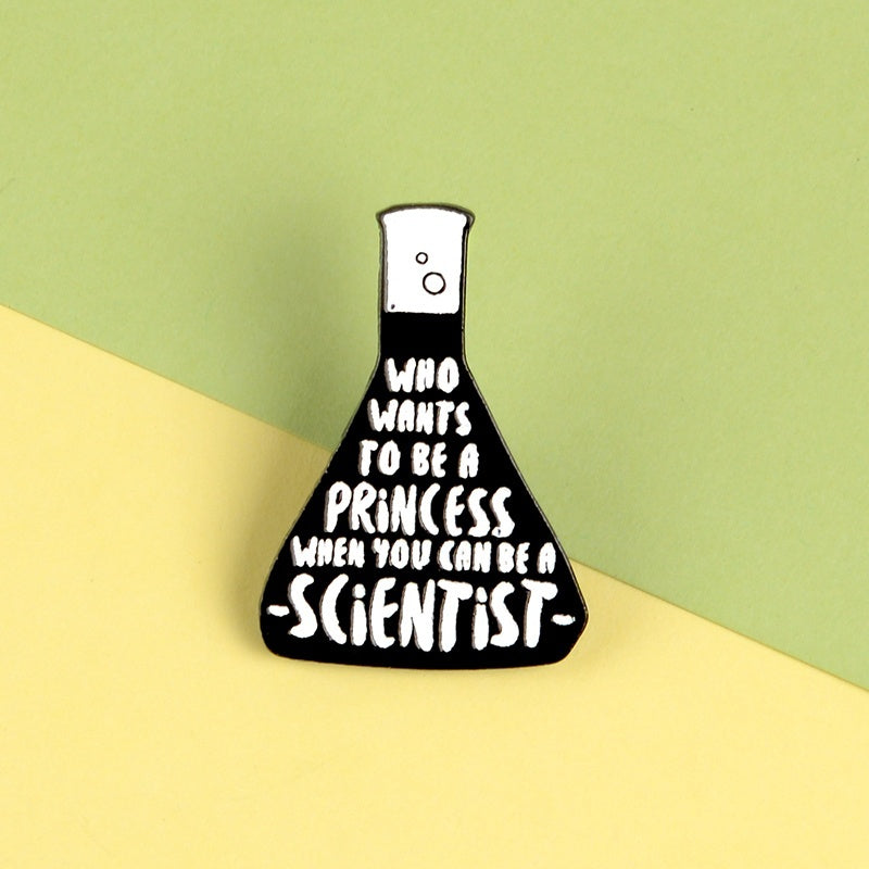 Black Science Bottle Enamel Pin Experiment Cup Chemical Reaction Badge Brooch For Science Lover Gift