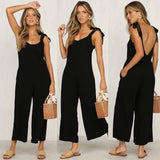 Women  Summer Fashion Jumpsuits  Cotton Rompers Overalls Sleeveless Wide Leg  Tied Bandwidth Casual Jumpsuits