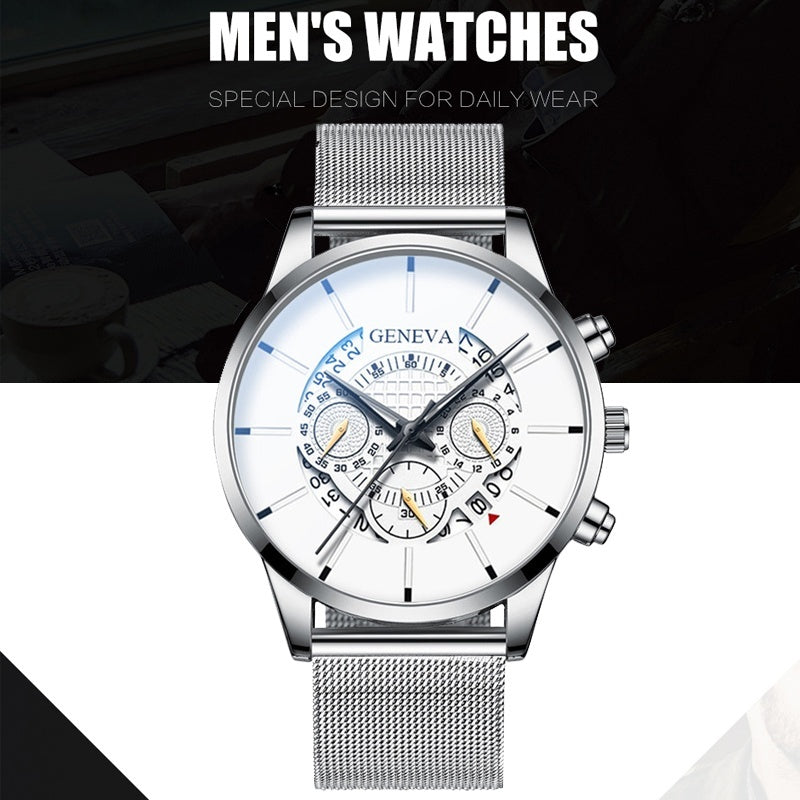 Fashion Mens Watches Luxury Minimalist Mesh Band Watch Business Stainless Steel Watch Quartz Watch Calendar Wrist Watches Reloj Hombre