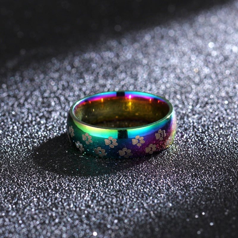 Seven Colored Foot Rainbow Titanium Steel Ring  Paw Print Dog Claw Pet Commemorative Rainbow Ring