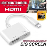 Lightning to Digital AV TV HDMI Cable Adapter with Lightning Charging Port for iPad iPhone Nokia