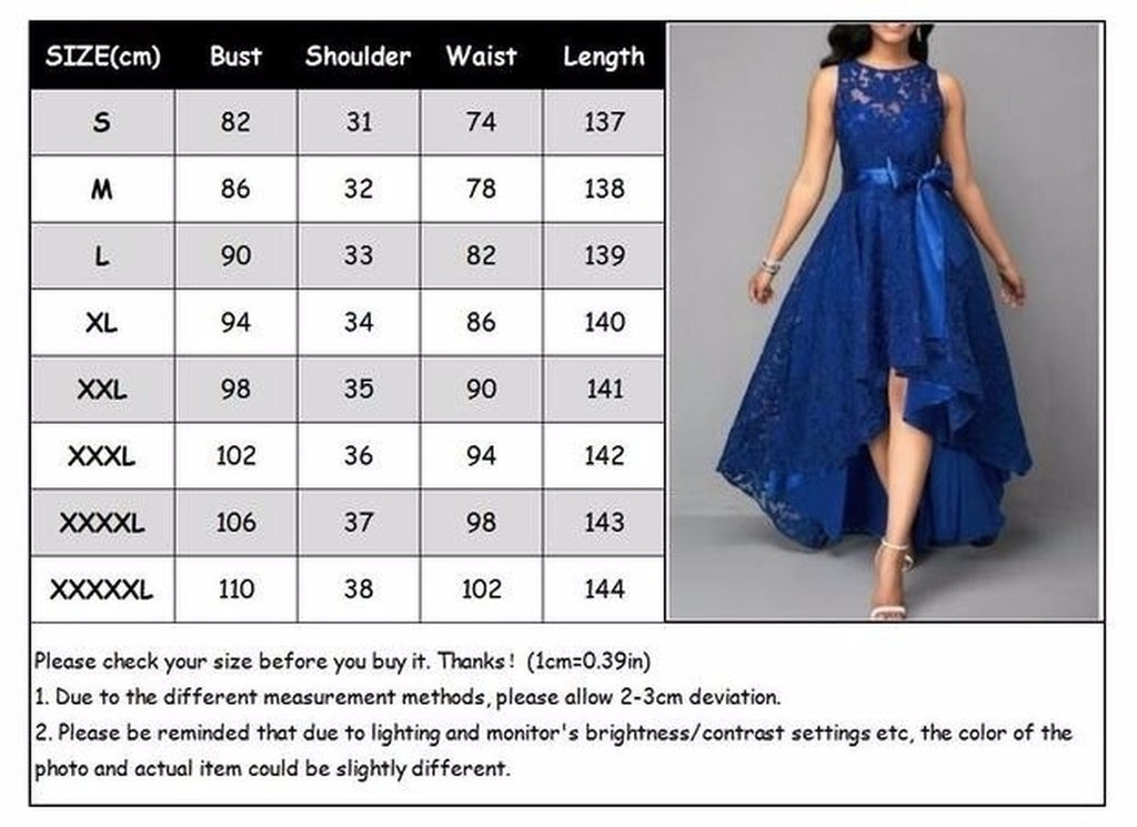 Women's Prom Party Official Long Lace Dress Cocktail Bridesmaid Wedding Dress Plus Size