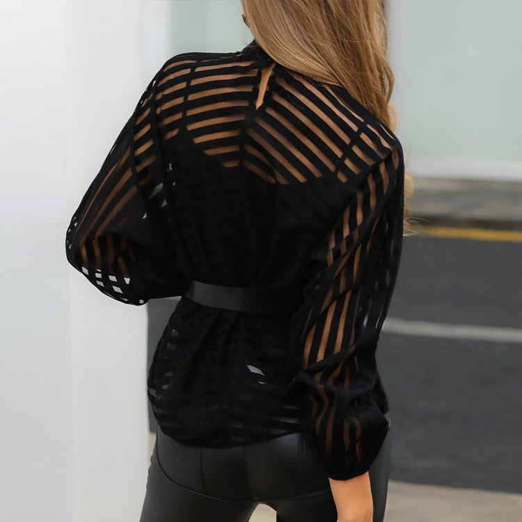 Women Long Sleeve Mock Neck Blouse Stripes See-through Sheer Tops in Black