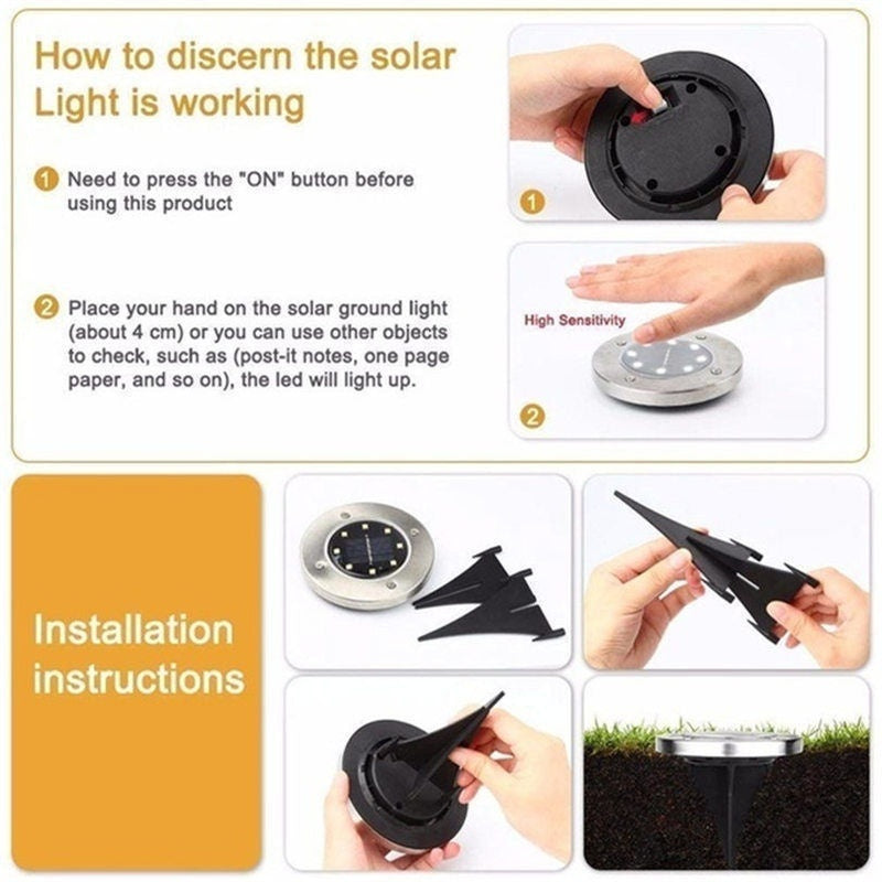 4/8 Pack LED Waterproof Ground Lights Solar Garden Lights Outdoor Disk Lights Landscape Lighting with Light Sensor for Lawn Patio Walkway