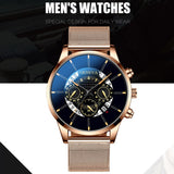 Fashion Mens Watches Quartz Watch Luxury Mesh Watch Fake Three Eyes Wristwatch Men's Business Calendar Clock