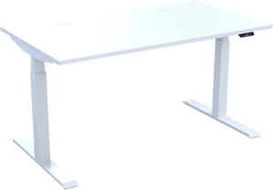 HiRise² electric sit stand desk in White MFC