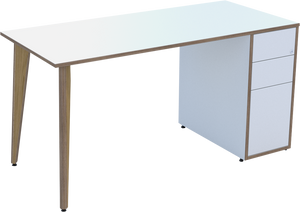 Ligni timber leg Workstation in White MFC
