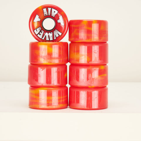 Airwaves Roller Skate Wheels - Red / Yellow Marble
