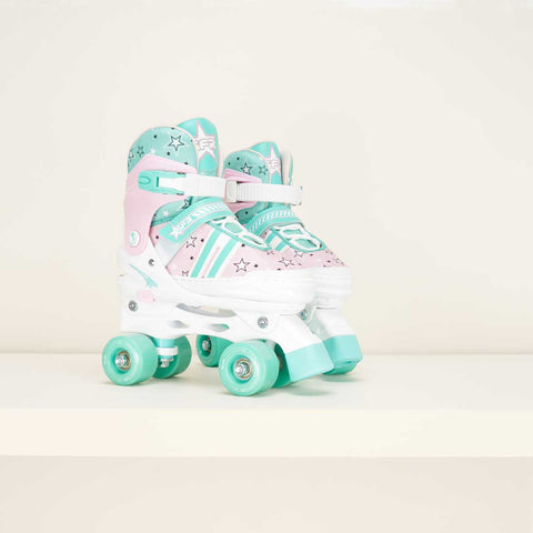 SFR Spectra Junior Adjustable Rollerskates - Pink / Green