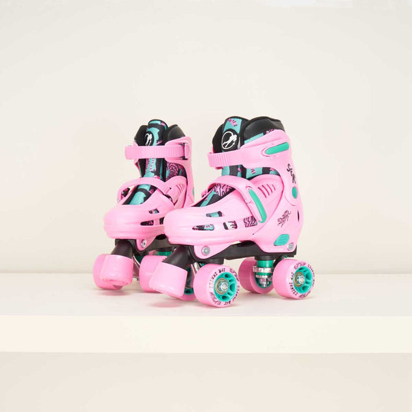SFR Storm IV Pink/Green Junior Adjustable Quad Skates