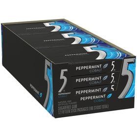 Wrigleys 5 Gum Cobalt Peppermint Chewing Gum (Pack Of 10)