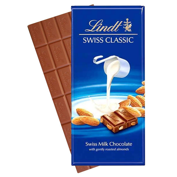 Lindt Swiss Classic Bar Chocolate, Almond, 100 G-Chocolate-Krave Bites-Krave Bites