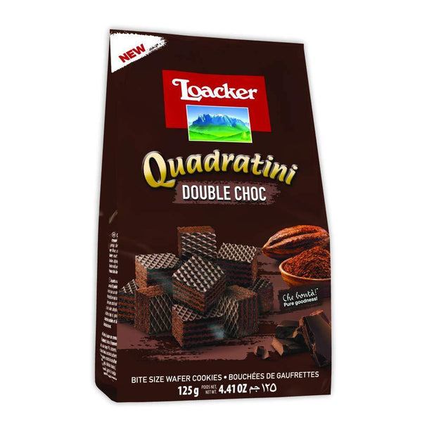 Loacker Quadratini Double Choc Bite Size Wafer Cookies, 125g-Krave Bites