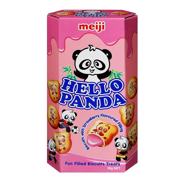Meiji Hello Panda Fun Filled Biscuits Treats, Strawberry 50gm-Chocolate-Krave Bites-Krave Bites