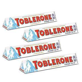 Toblerone White Chocolate Pack of 4, x 100 g