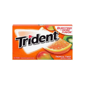 Trident Sugar Free Chewing Gum Tropical Twist, 14 Sticks, 26 g