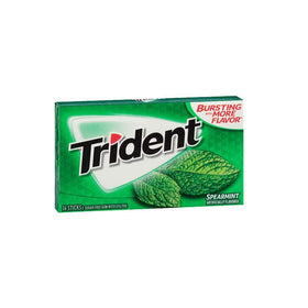 Trident Sugar Free Chewing Gum Spearmint, 14 Sticks, 26 g