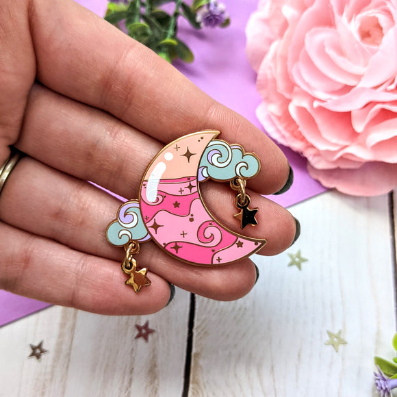 Pink Moon Potion and Star Dangles Enamel Pin - Cinnitea