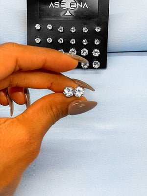 12 pair silver stud set