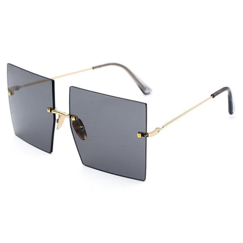 Oversized Rimless Square Women Sunglasses - Eyelaado
