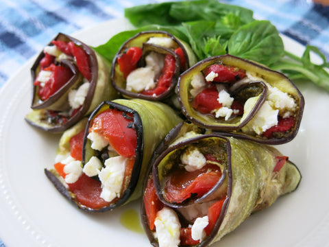 Eggplant Rolls with Cherry Tomato and White Bean Salad