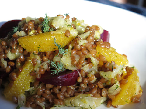 Wheat Berry Salad with Roasted Beets, Oranges, Fennel and Dill