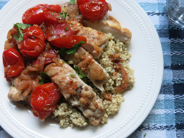 Pan-seared Chicken with Tomato-Herb Sauce and Quinoa