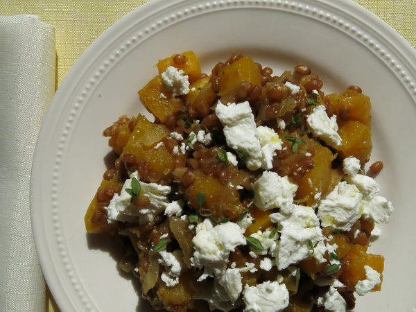 Butternut Squash with Wheat Berries, Caramelized Onions and Goat Cheese
