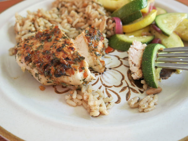 Greek Chicken with Vegetables and Brown Rice Pilaf