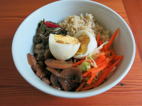 Quinoa with Braised Greens, Mushrooms, Gingered Carrots and Egg