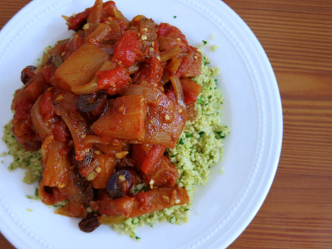 Eggplant Caponata with Lemon-Herb Couscous and Toasted Pine Nuts