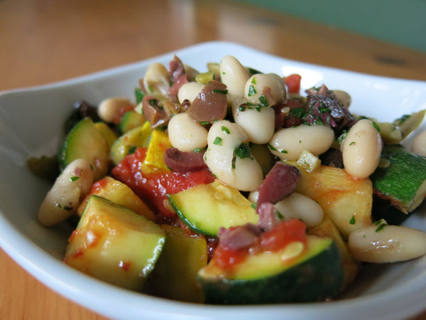 Roasted Vegetables with Fresh Herbs and Marinated Beans