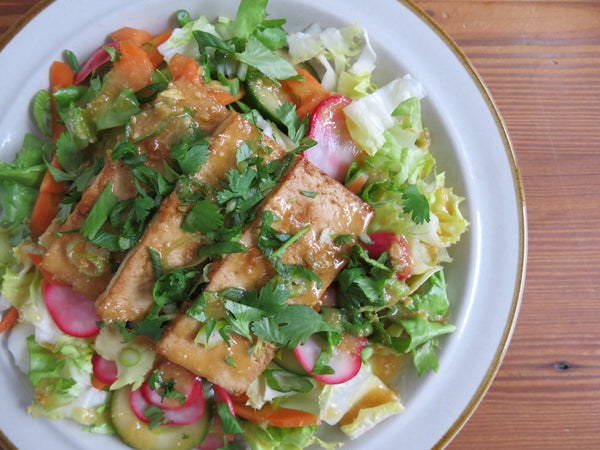 Bahn Mi Salad with Pickled Vegetables, Roasted Tofu and a Sesame- Miso Dressing