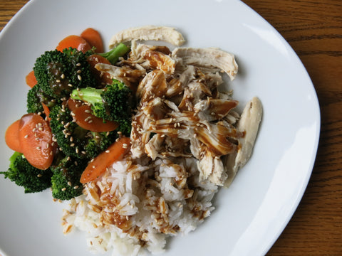 Poached Chicken with Coconut Rice and Vegetables