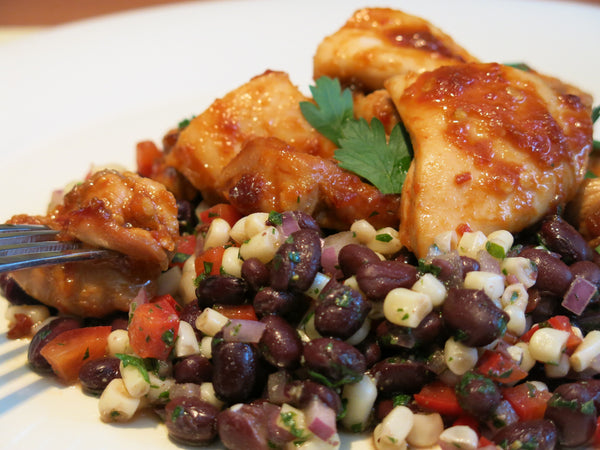 Sriracha Glazed Chicken with Black Bean Salad