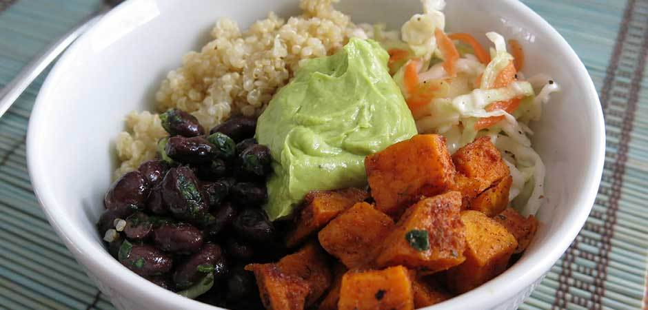 Quinoa Bowl with Sweet Potato, Black Beans, Cabbage and Avocado