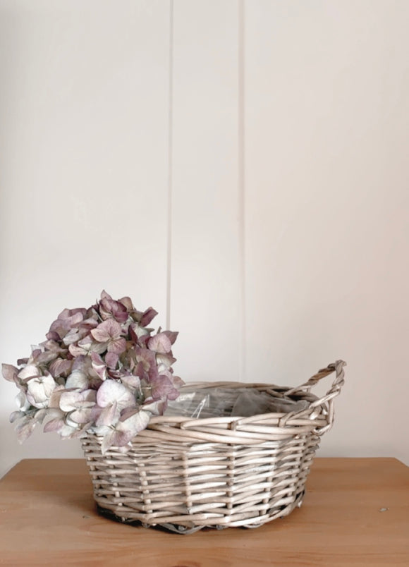 Round Lined Wicker Basket