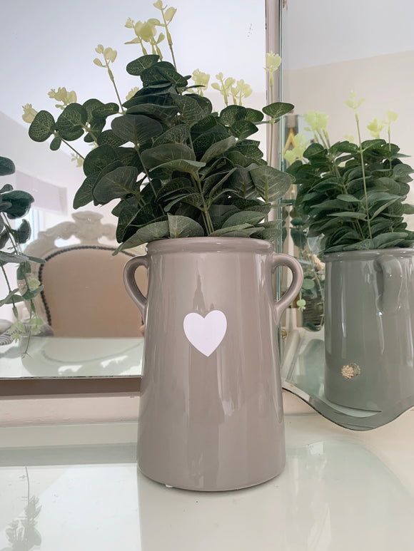 Large Grey Vase with White Heart