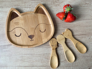 Woodland Fox Bamboo Plate And Set Of Three Spoons
