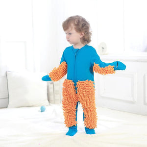 Baby Boys Girls Footies Cleaning Mop Romper