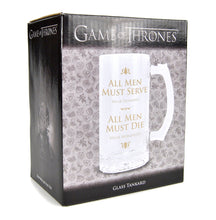 Load image into Gallery viewer, Game of Thrones Glass Tankard - All Men Must Die