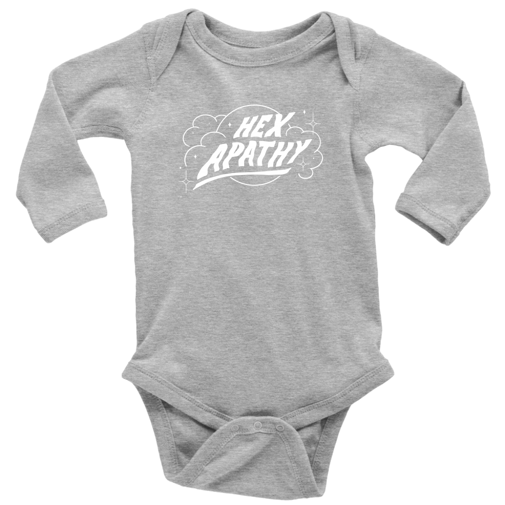 Hex Apathy Infant, Long Sleeve Bodysuit - 5 Colors Available (white print)